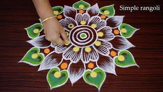 Download Simple nd Easy Round Rangoli design * Big Free hand Rangoli design * Beautiful Muggulu Video