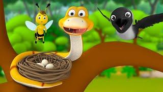 Download The Crow and Snake Eggs Telugu Story - పాము మరియు కాకి గుడ్లు నీతి కధ 3D Animated Kids Fairy Tales Video