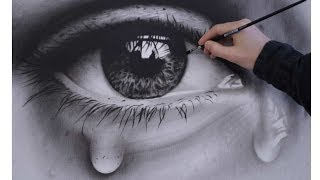 Download How to Draw a Realistic Eye with teardrop speed painting Video