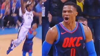 Download Russell Westbrook SHUTS UP JOEL EMBIID FOR DUNKING ON HIM AND STARING HIM DOWN! OKC Thunder vs 76ers Video