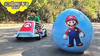 Download SUPER MARIO Giant Egg Surprise! Luigi, Toad, Bowser, Odyssey Super Mario toys for kids run kart Video