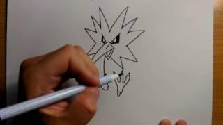 Download สอนวาดรูป การ์ตูน | นกสายฟ้า ธันเดอร์ Zapdos จาก โปเกมอน Pokemon ง่ายๆ | วาดการ์ตูน กันเถอะ Video