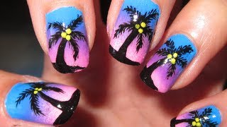 Download Summer Tropical Ombre Sunset Nail Tutorial Video