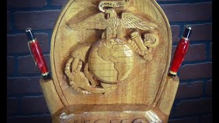 Download Wood Carving a Marine Corps Emblem Desk Set (and Pen Turning) Video