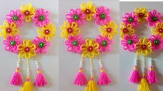 Download DIY easy woolen flower wall hanging!! DIY Room decor!! Wool craf ideas!! Best out of waste toran Video