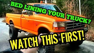 Download SHOULD YOU BED LINE YOUR TRUCK?! Using Bed liner as paint! 9″ LIFTED FORD OBS! Video