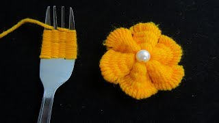 Download Hand Embroidery Amazing Trick, Easy Flower Embroidery Trick with Fork, Sewing Hack Video