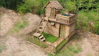 Download Building Most Beautiful House Villa In the Deep Forest ( Bamboo 100%) Video