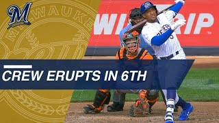 Download Jonathan Schoop belts grand slam after Ryan Braun HBP, Counsell ejected Video