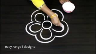 Download How to draw a simle flower rangoli || free hand designs || latest kolam muggulu Video