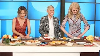 Download Ellen and Nicole Kidman Try to Learn Cooking Skills from Giada De Laurentiis Video