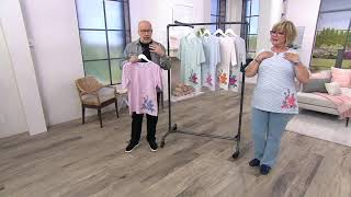 Download Denim & Co. Striped Round-Neck Top with Embroidery on QVC Video