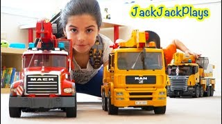 Download Pretend Play Fishing with Bruder Crane Trucks Compilation Video