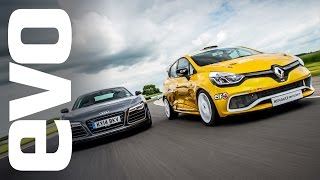 Download Audi R8 Plus vs Renault Clio Cup racecar | evo TRACK BATTLE Video