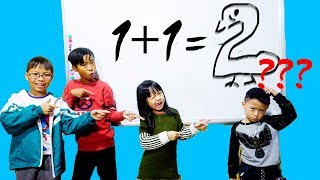 Download Hunter Kids Go To School Learn Colors Math Number (1+1 = ?)   Classroom Funny Nursery Rhymes Video