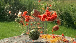 Download Rubber bands vs Water Melon - The Slow Mo Guys Video
