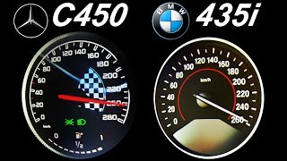 Download BMW 435i vs Mercedes C450 Acceleration 0-250 Autobahn Top Speed Onboard Sound Video