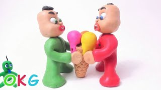Download Green Baby Gets BIG ICE CREAM! In Fun Color Baby Superhero - Stop Motion Cartoons For Kids #33 Video