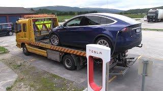 Download Tesla Model X P90DL shuts down with 14 km/8 mi range left Video