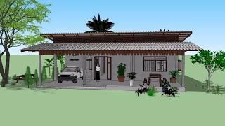 Download บ้านเพิงหมาแหงน หน้ากว้าง 3ห้อง ( No. 063 ) SketchUp by : i. pakdee Video