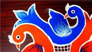 Download Innovative multicolor birds rangoli designs - beautiful kolam designs - muggulu with 6 to 4 dots Video