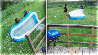 Download Nebraska Dad Catches Thieves Stealing Kiddie Pool From Backyard Video