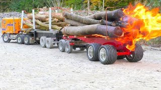 Download RC Fire Trucks! Big fire on the wooden trailer! Fantastic RC vehicles! Video