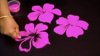 Download Simple preehand flower rangoli design - Multicolor flower kolam design without dots Video