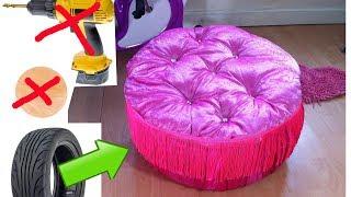 Download DIY Creative Ways to Re purpose .Trash to treasure.Tyre ottoman. Video