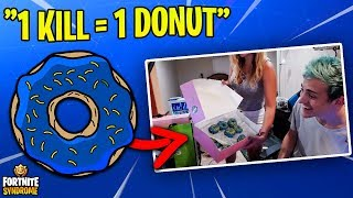 Download NINJA TAKES ON THE DONUT CHALLENGE w/ WIFE! (1 kill = 1 donut) Video