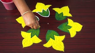 Download Simple kolam art designs with 5x3 dots - 5 dots rangoli designs with colours - small flower kolangal Video