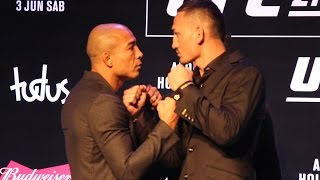 Download Jose Aldo vs. Max Holloway UFC 212 Media Day Staredown - MMA Fighting Video