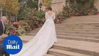 Download Princess Eugenie arrives at chapel in Peter Pilotto dress Video