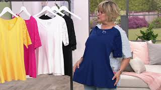 Download Denim & Co Fit & Flare Stretch Lace Elbow Sleeve Top on QVC Video