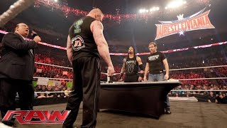 Download Dean Ambrose confronts Brock Lesnar during their WWE Fastlane contract signing: Raw, Feb. 8, 2016 Video