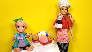 Download CAKE baking ! Elsa and Anna - Barbie - cake shop Video