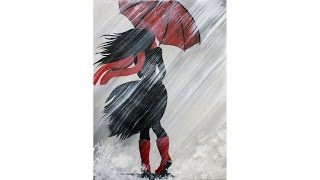Download A Girl Walking in the Rain Acrylic Painting on Canvas for Beginners Video