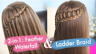 Download Feather Waterfall & Ladder Braid Combo | Cute 2-in-1 Hairstyles Video
