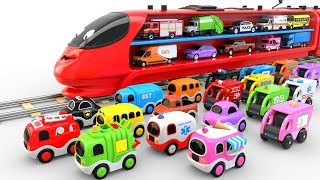 Download Colors for Children to Learn with Train Transporter Toy Street Vehicles - Educational Videos Video