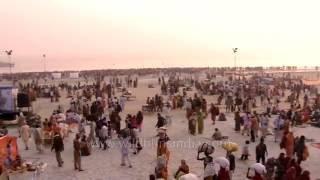Download Huge gathering of devotees at Gangasagar mela Video