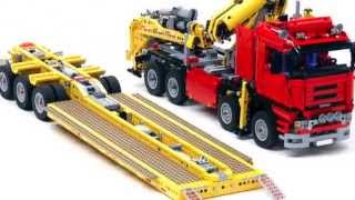 Download US style lowboy with jeep and booster ″Trailer Tr4 MkII 8258″ build with LEGO® Video