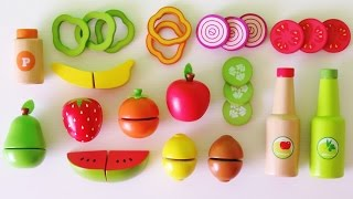 Download Learn colors learn names of fruits and vegetables make toy salad velcro wooden play food Video