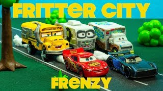 Download Fritter City Frenzy with Derby Cars Racers Lightning McQueen + Jackson Storm Video
