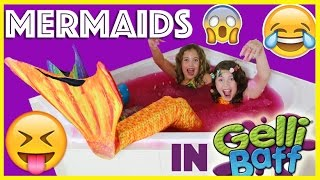 Download ❤️ FIN FUN MERMAIDS SWIMMING IN GELLI BAFF TUB! New Tails Rainbow & sunrise the little mermaids Video