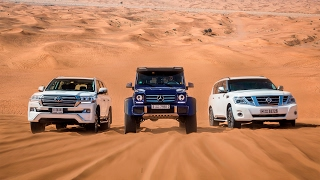 Download DRAG RACE | Mercedes-Benz G500 4×4² Vs. Toyota Land Cruiser Vs. Nissan Patrol Video