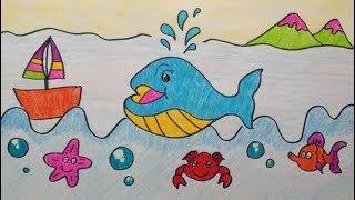 Download วาดรูประบายสีการ์ตูนสัตว์ Ep.8 ปลาวาฬ (Whale) I การ์ตูนสัตว์น่ารัก สำหรับเด็ก Video