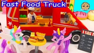 Download Playmobil Fast Food Truck Car with Burgers, Fries, Hotdogs with My Little Pony Toys - Cookieswirlc Video