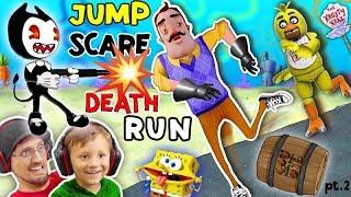 Download HELLO NEIGHBOR SPONGEBOB DEATHRUN vs. BENDY & THE INK MACHINE! Krusty Krab FNAF Jump Scares 4 FGTEEV Video