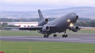 Download USAF McDonnell Douglas KC10A Evening Landing & Takeoff at Prestwick Airport Video