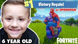 Download 6 Year old FORTNITE VICTORY ROYALE w/ SPIDERMAN! (Battle Royale Duos) Video